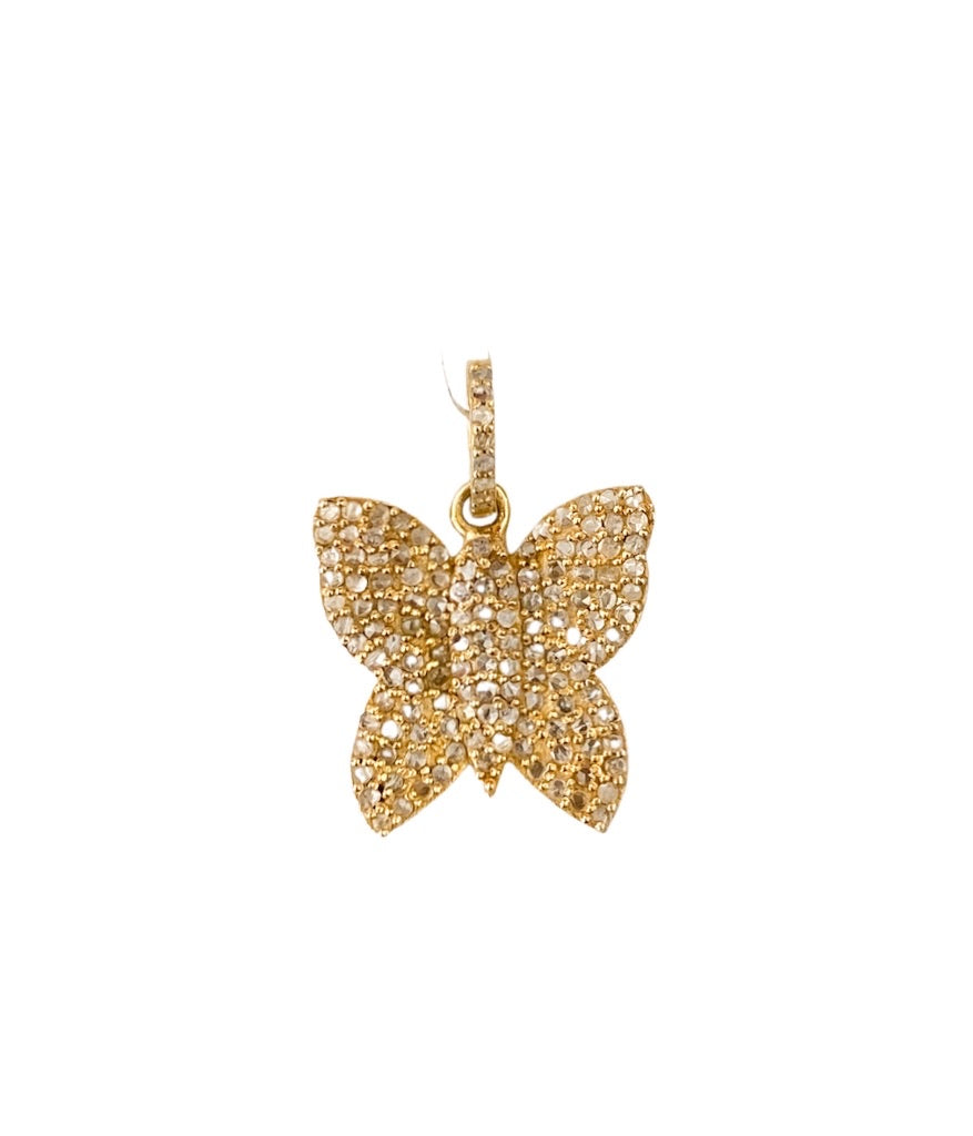S. Row Designs Gold Diamond Butterfly Pendant
