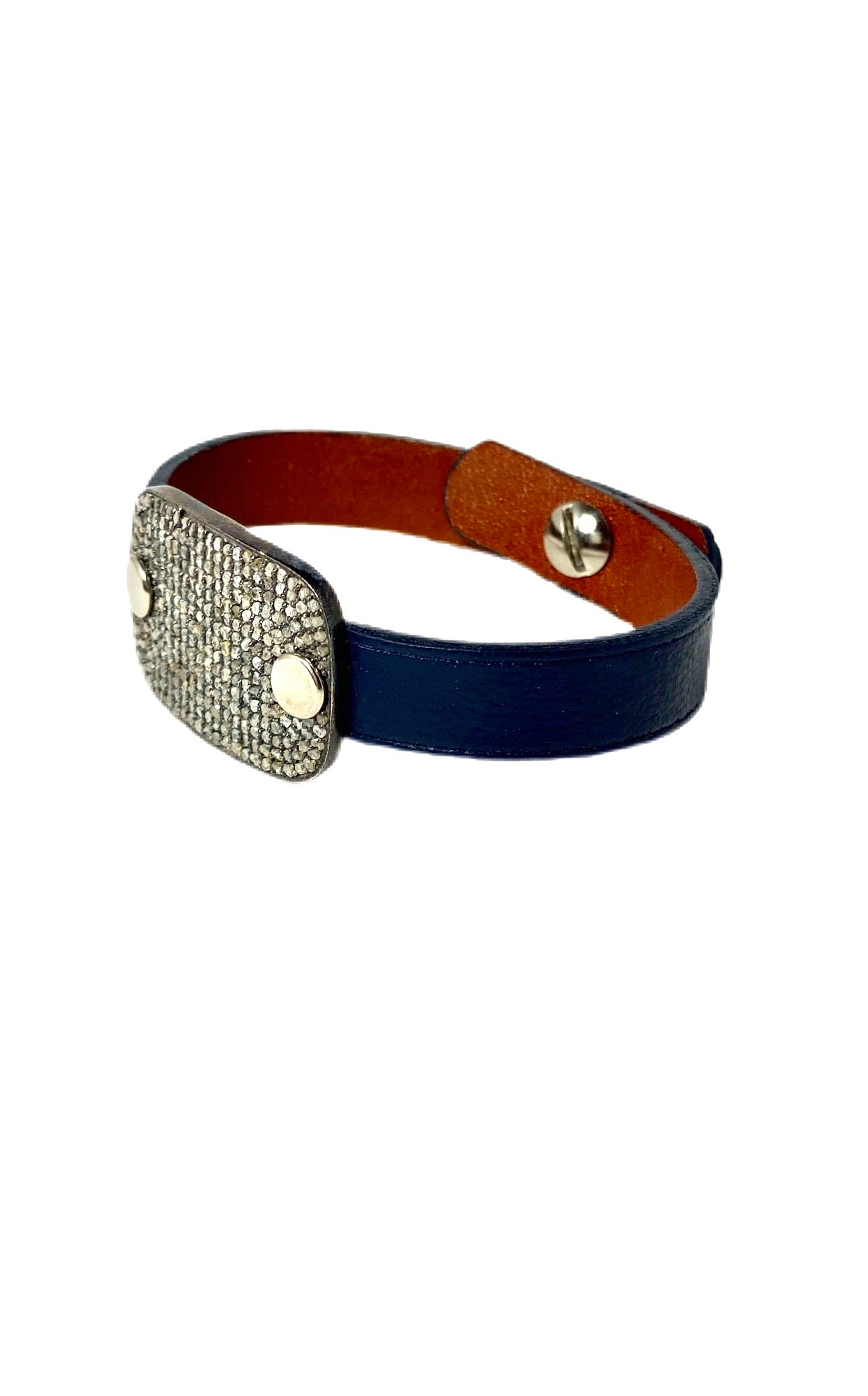 S.Row Designs Pave Diamond Leather Bracelet
