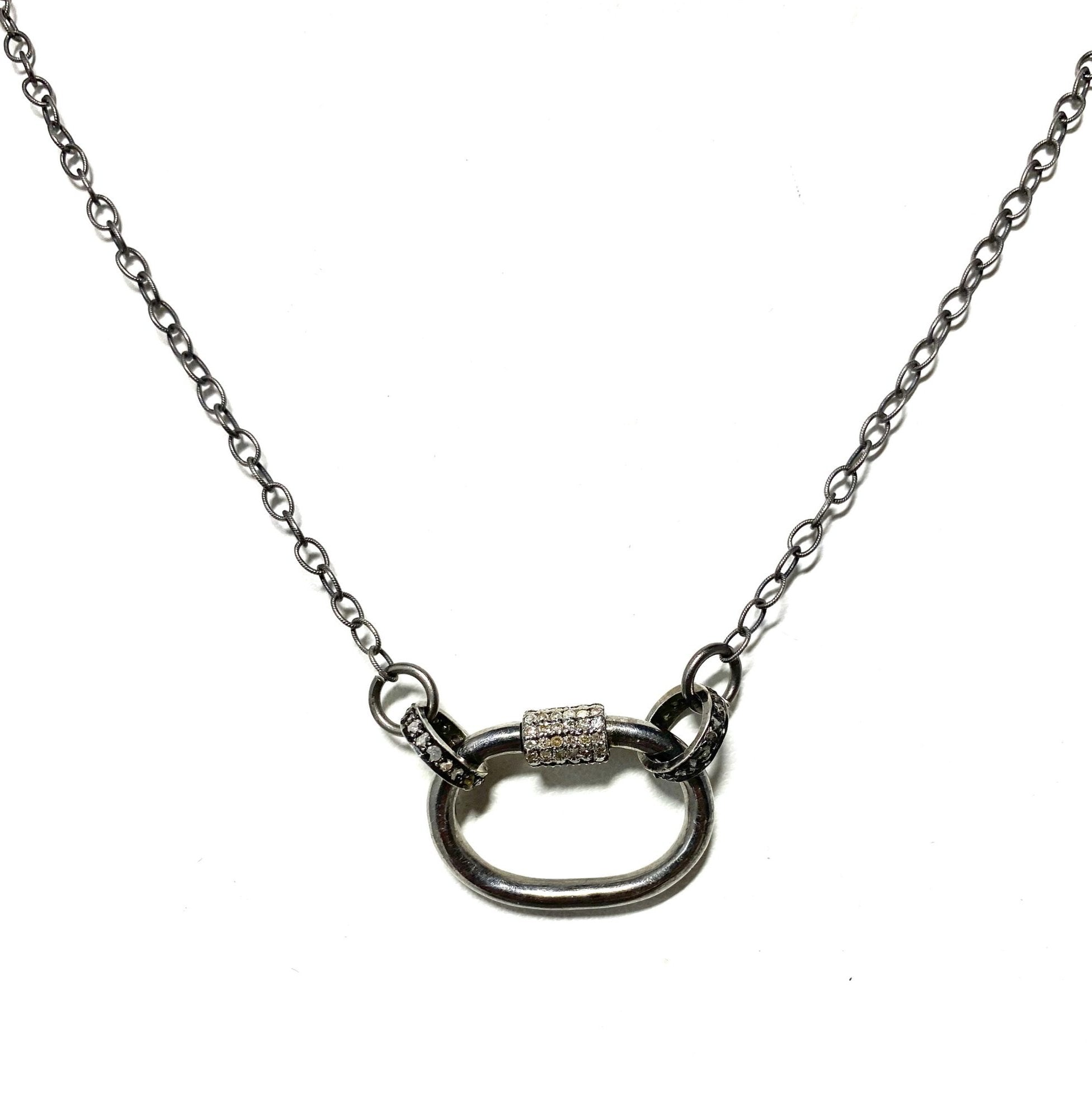 S.Row Designs Sterling Silver and Diamond Lock Necklace