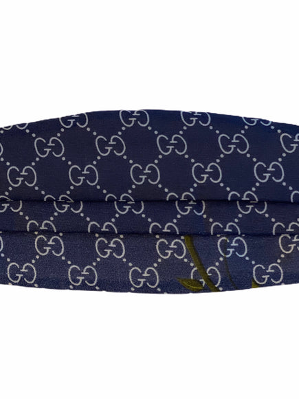 Gucci Logo Navy Silk Face Mask