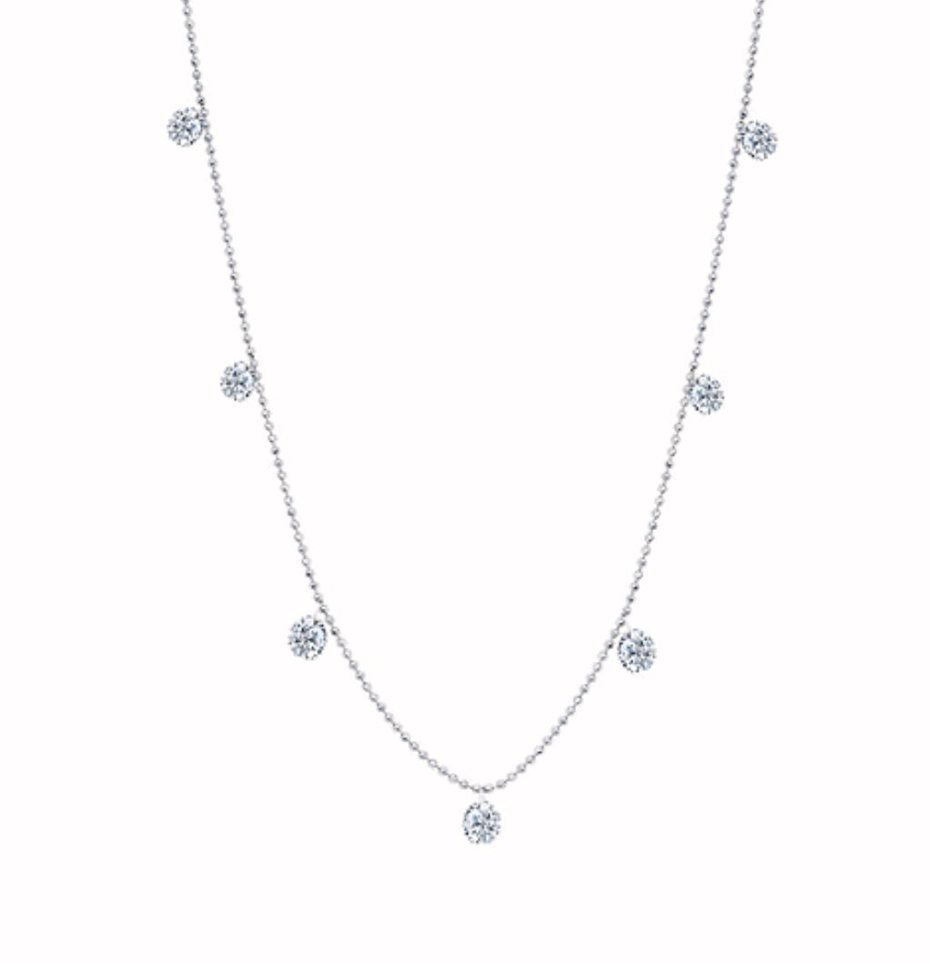 Graziela White Small Floating Diamond Necklace