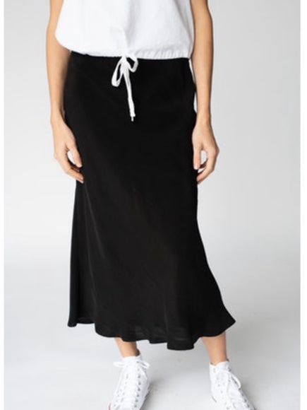 Stateside Cupro Midi Skirt in Black