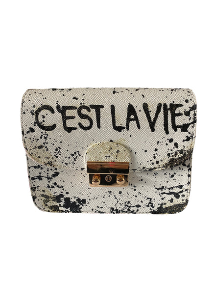 Handpainted White/Splatter C'est La Vie Crossbody