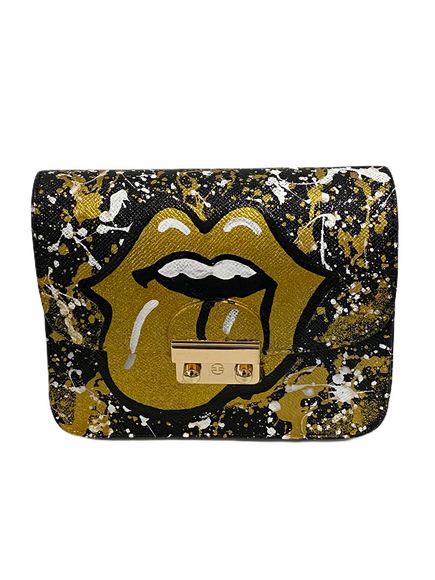 Handpainted Black/Gold Lips Crossbody