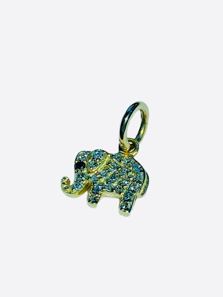 S.Row Designs 14K Gold and Diamond Elephant Pendant