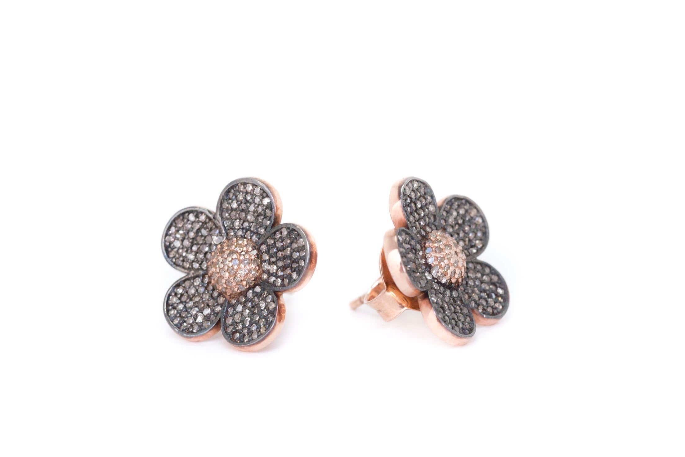 S.Row Designs Pave Diamond Flower Earrings