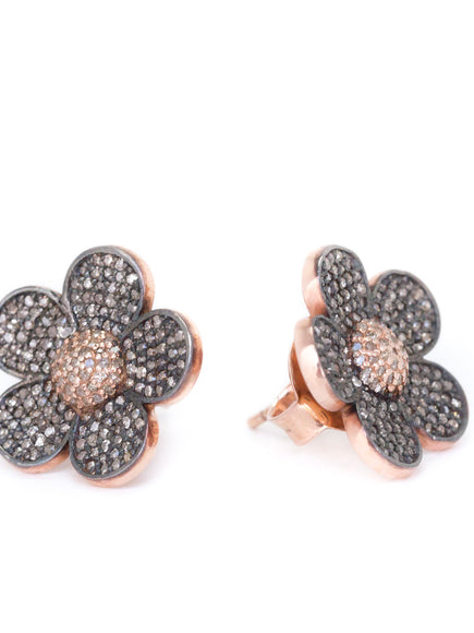 S. Row Designs Pave Diamond Flower Earrings