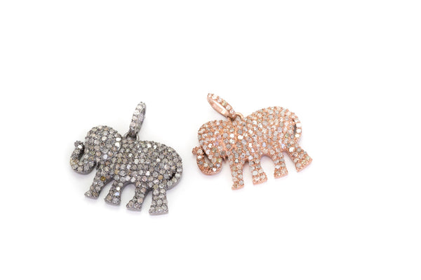 Pave Diamond Elephant Pendant