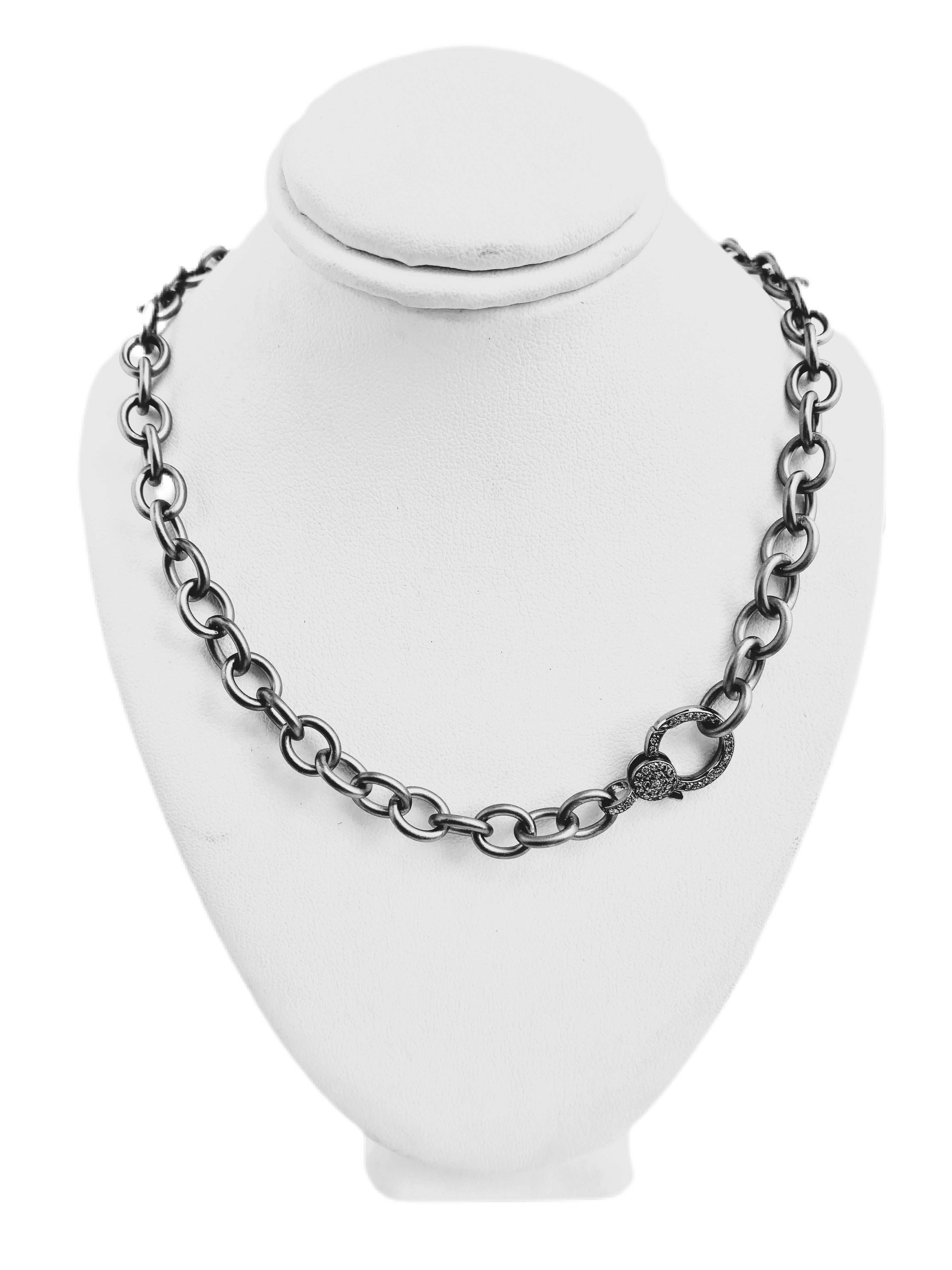 "S.Row Designs 18"" Sterling Silver Necklace with Diamond Clasp"