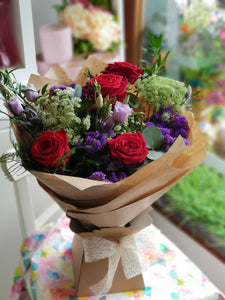 Roses and Lizzianthus Hand Tied Country Garden