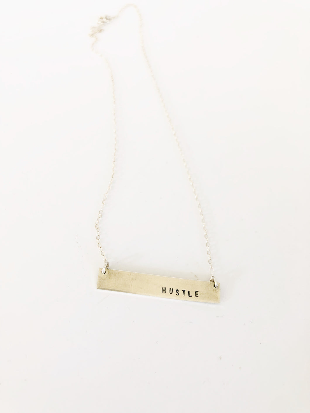Hustle Bar Necklace Sterling -  16 or 18 inch chain