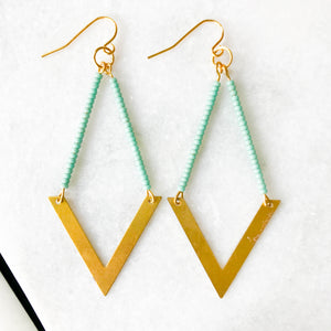 Geometric Aqua Beaded Earring
