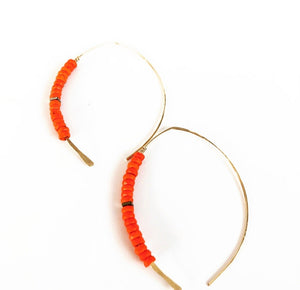 Belize Earrings- silver / orange