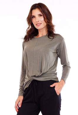 front twist top, olive