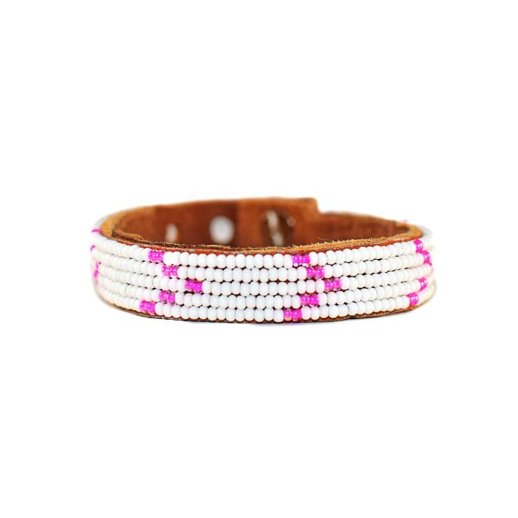 Pink Chevron Beaded Leather Cuff