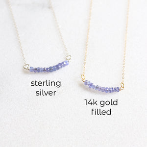 Tanzanite Bar Necklace - Sterling Silver