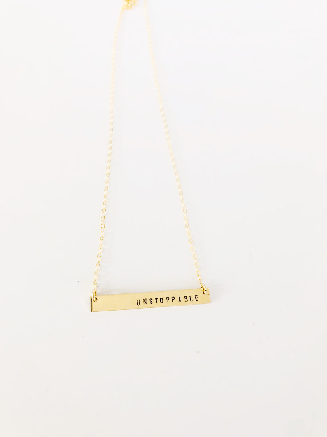 Unstoppable Bar Necklace Sterling -  16 or 18 inch chain