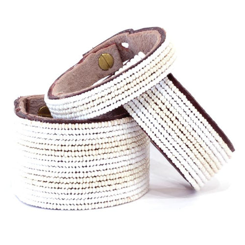 Stripes Pearl and White Beaded Leather Cuff