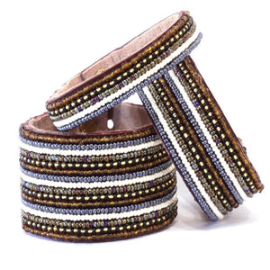 Stripes Neutral Beaded Leather Cuff