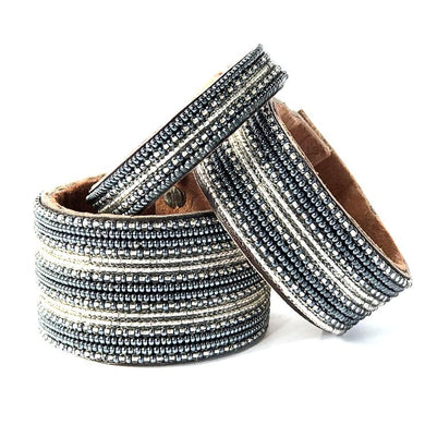 Stripes Silver and Slate Beaded Leather Cuff