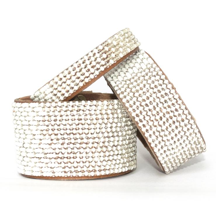 Ombre Silver and White Beaded Leather Cuff