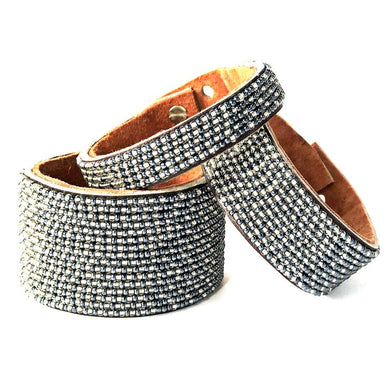 Ombre Slate and Silver Beaded Leather Cuff