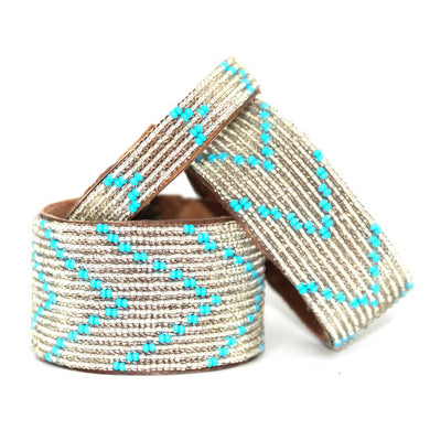 Summer Chevron Beaded Leather Cuff