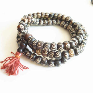 108 Prayer Beads Mala Yak Bone Hand Carved Wisdom Eye-GRABITEMS.COM