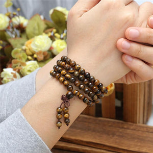 108 Tiger Eye Bead Prayer Tibetan Buddhist Bracelet Necklace-GRABITEMS.COM