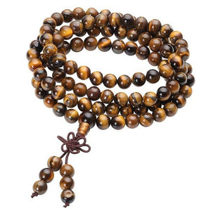 108 Tiger Eye Bead Prayer Tibetan Buddhist Bracelet Necklace-8MM Beads-One Size-Multi-Color-GRABITEMS.COM