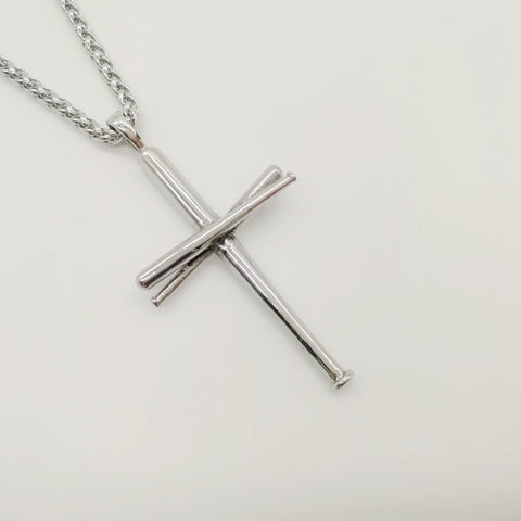 2018 Stainless Steel Baseball Bat Cross Necklace
