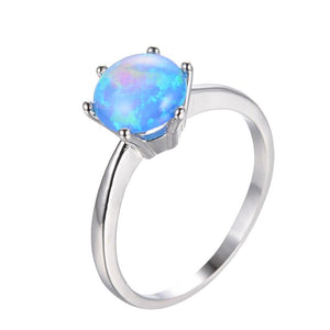 925 Sterling Silver Blue Fire Opal Rings-GRABITEMS.COM