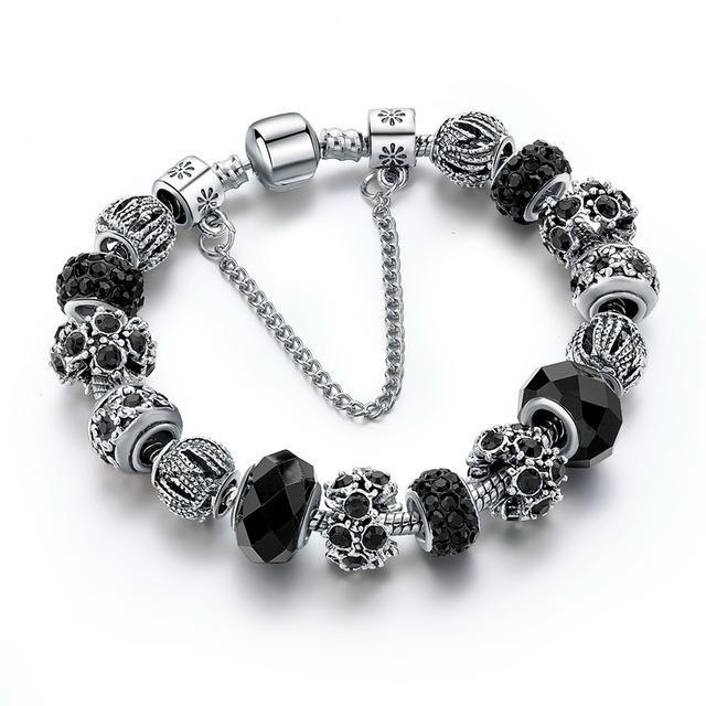 Blue Crystal Beads Bracelet-Black 1-One Size-As you see-GRABITEMS.COM