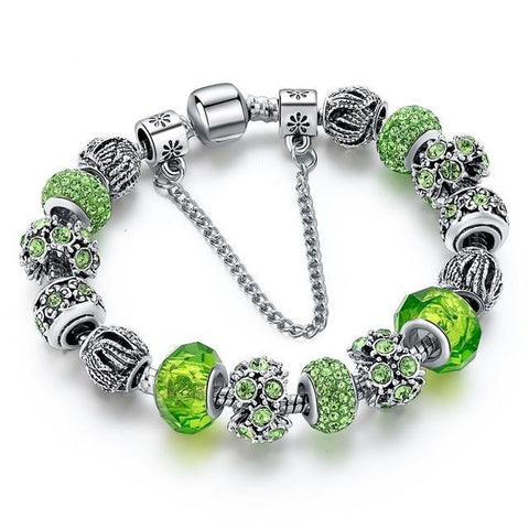 Blue Crystal Beads Bracelet-Green-One Size-As you see-GRABITEMS.COM