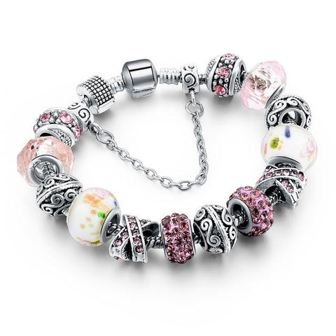 Blue Crystal Beads Bracelet-Pink-One Size-As you see-GRABITEMS.COM