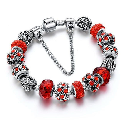 Blue Crystal Beads Bracelet-Red 1-One Size-As you see-GRABITEMS.COM