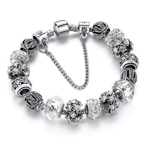 Blue Crystal Beads Bracelet-White 1-One Size-As you see-GRABITEMS.COM