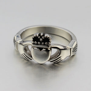 Silver Titanium Steel Claddagh Ring
