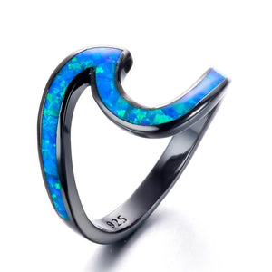 Blue Fire Opal Wave Rings