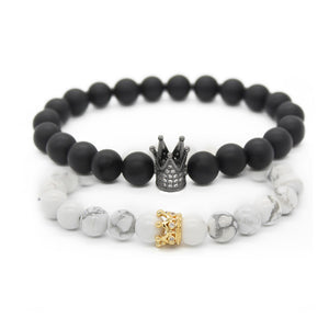 Couple His And Hers Bracelets Distance Black Matte & White Beads