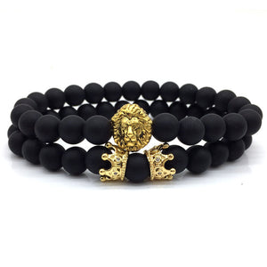 Lion Crown Couple Charm with Lava Bracelets