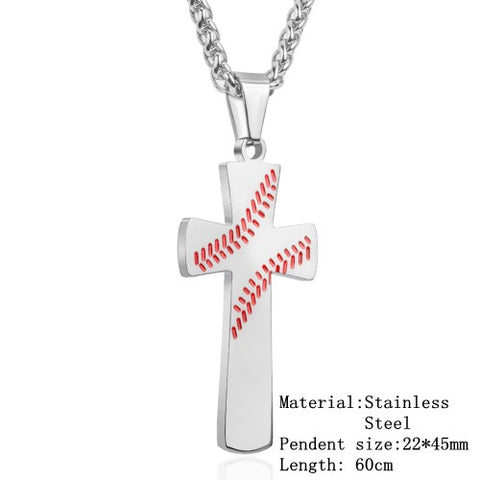 2018 Hip Hop Baseball Cross Pendant Necklace