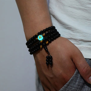 Dragon Black Buddha Glowing in the Dark Bracelet