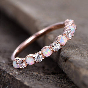 CZ Opal Rings Wedding Fire Stone Finger Ring