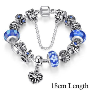 Queen Crown Beads Bracelet-Blue 18cm PA1867-GRABITEMS.COM