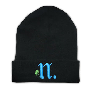 "Palm Tree ""N"" Beanie - Black"