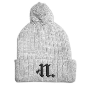 "Palm Tree ""N"" Beanie - Light Gray"