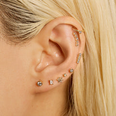 16 Gauge Gold Fine Line Diamond Threaded Stud with Titanium Closure