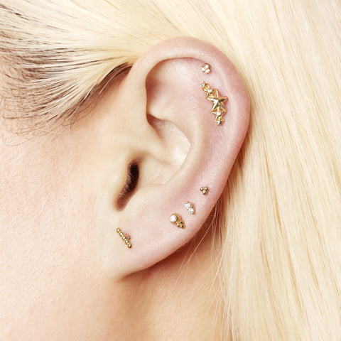 16 Gauge Three Bead Cluster Threaded Stud With Titanium Disc Closure