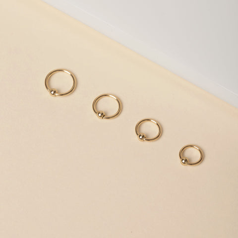 "Gold 3/8"" Fixed Bead Ring"